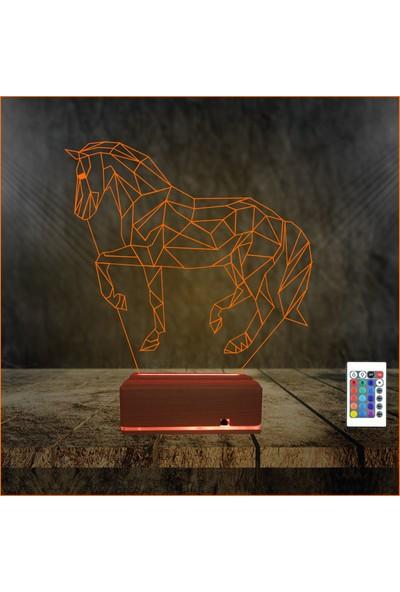 Algelsin 3D 3 Boyutlu At Modelli 16 Renkli Masa Lambası