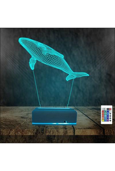 Algelsin 3D 3 Boyutlu Balina Modelli LED Masaüstü Lambası
