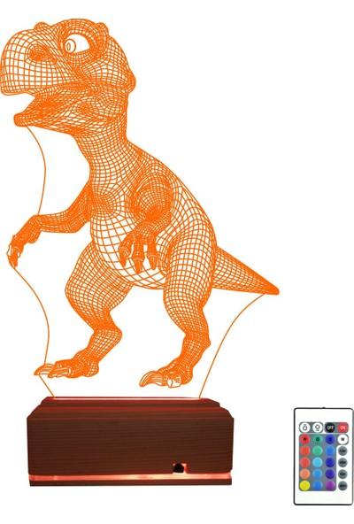 Algelsin 3D 3 Boyutlu Dinozor Modelli 16 Renkli Masa Lambası