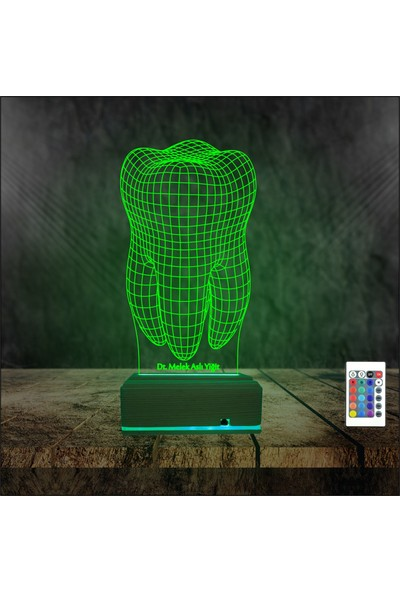 Algelsin 3D 3 Boyutlu Diş Doktorlarına Özel - Kişisel Isim Yazılabilen LED Gece - Masa Lambası