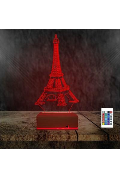 Algelsin 3D 3 Boyutlu Eyfel Kulesi Tasarımlı LED Masa Lambası 16 Renkli
