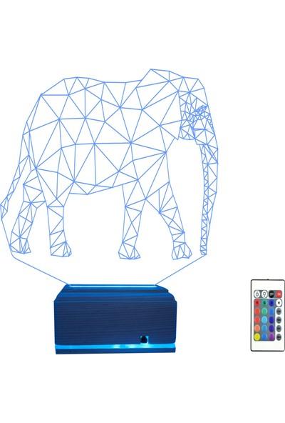 Algelsin 3D 3 Boyutlu Fil Tasarımlı 16 Renkli Masa Lambası