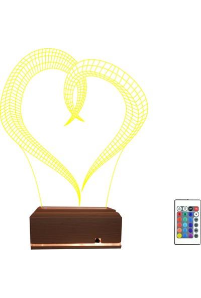 Algelsin 3D 3 Boyutlu Gece Lamba Aşık Sarılan Kalp Tasarımlı LED Masa Lambası