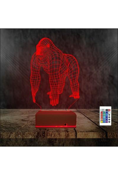 Algelsin 3D 3 Boyutlu Goril Modelli Masa Lambası 16 Renkli