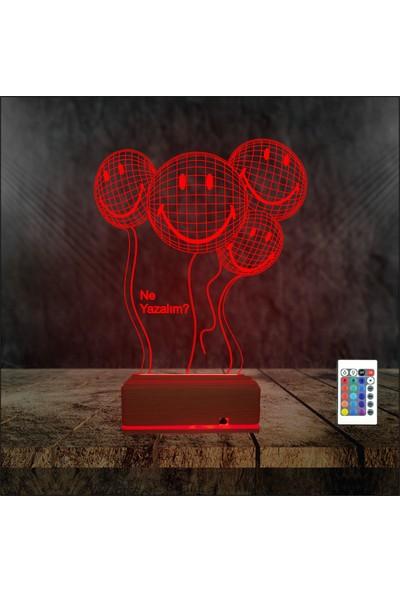 Algelsin 3D 3 Boyutlu Gülen Surat Emojili LED Masa Lambası 16 Renkli