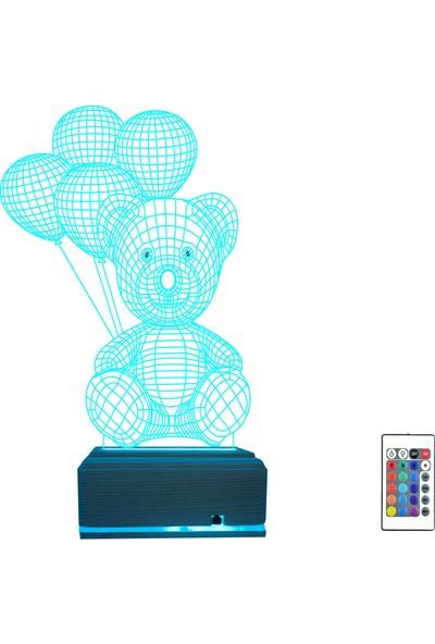 Algelsin 3D 3 Boyutlu Hayvan Temalı Ayıcık Tasarımlı LED Masa Lambası