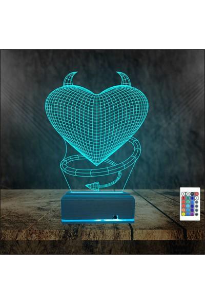 Algelsin 3D 3 Boyutlu Ilizyon Aşk Temalı 16 Renkli Masa Lambası