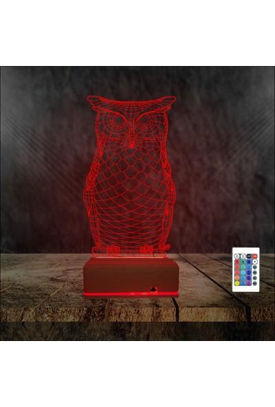 Algelsin 3D 3 Boyutlu Ilizyon Baykuş Tasarımlı 16 Renkli Masa Lambası