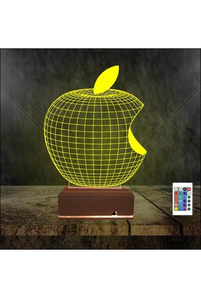 Algelsin 3D 3 Boyutlu Ilizyon Isırılmış Elma Tasarımlı 16 Renkli Masa Lambası