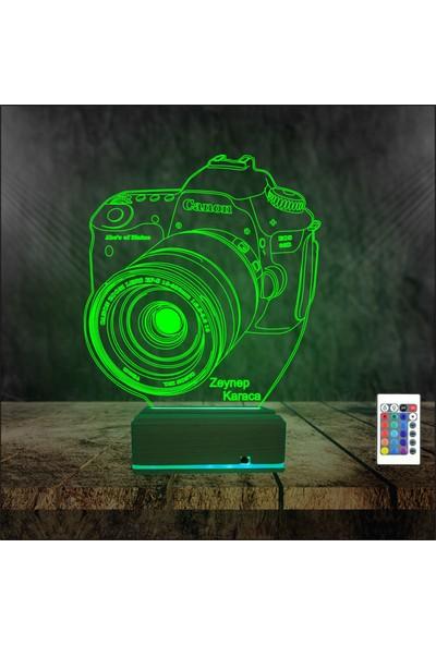 Algelsin 3D 3 Boyutlu Kişisel Isim Yazılabilen Fotoğrafçılara Özel LED Gece - Masa Lambası