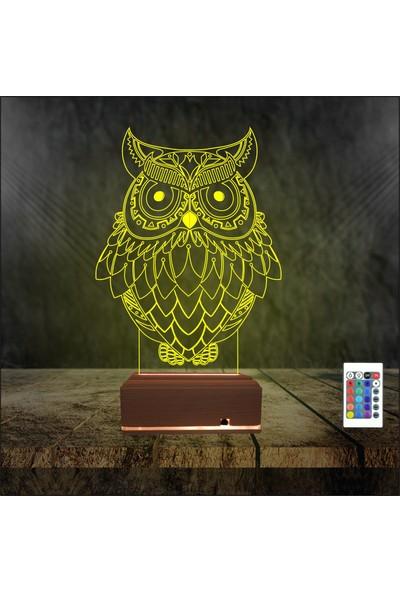 Algelsin 3D 3 Boyutlu LED - Baykuş Tasarımlı Masa Lambası