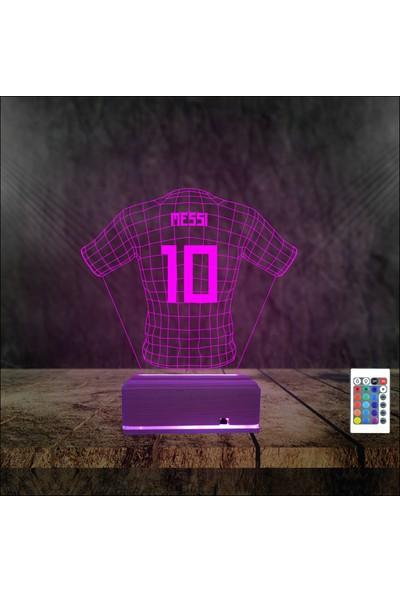 Algelsin 3D 3 Boyutlu LED 10 Numara Messi Formalı Masa Lambası