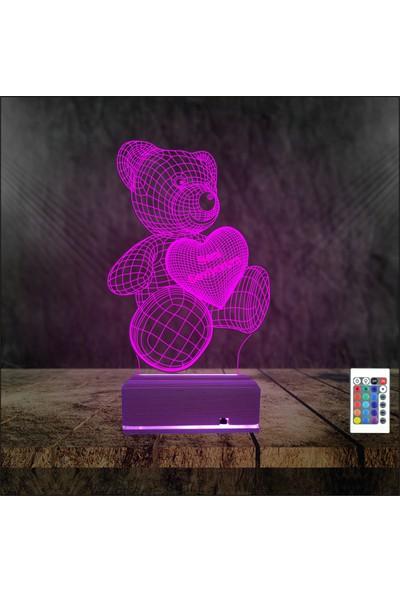 Algelsin 3D 3 Boyutlu LED Ayıcıklı Seni Seviyorum Yazılı Masa Lambası