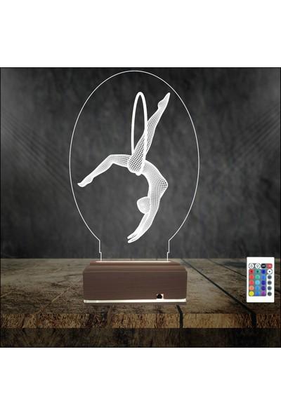 Algelsin 3D 3 Boyutlu LED Balerin Tasarımlı 16 Renkli Özel Masaüstü Lamba