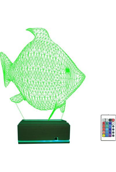 Algelsin 3D 3 Boyutlu LED Balık Tasarımlı 16 Renkli Masa Lambası