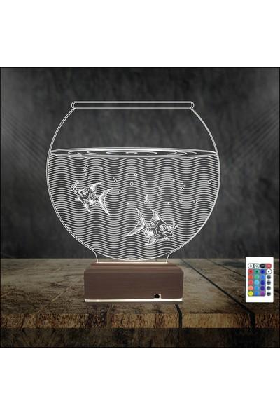 Algelsin 3D 3 Boyutlu LED Balıklı Akvaryum Tasarımlı Masa Lambası