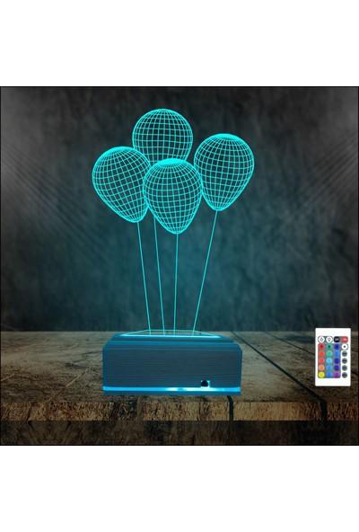 Algelsin 3D 3 Boyutlu LED Balon Tasarımlı Masa Lambası