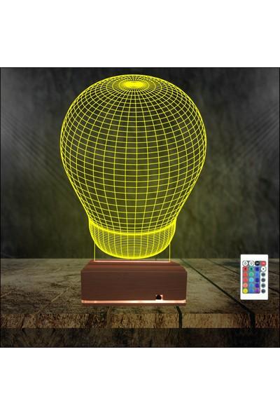 Algelsin 3D 3 Boyutlu LED Büyük Balon Tasarımlı Masa Lambası 16 Renkli