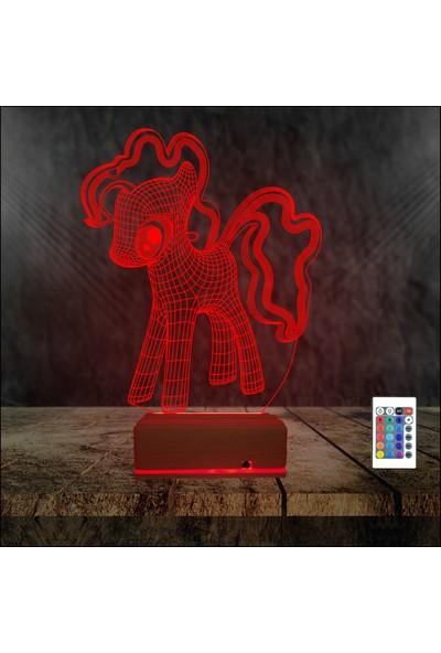 Algelsin 3D 3 Boyutlu LED Çocuklar Için At Modelli 16 Renkli Masa Lambası