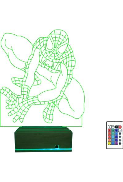 Algelsin 3D 3 Boyutlu LED Çocuklar Için Spiderman Modelli 16 Renkli Masa Lambası
