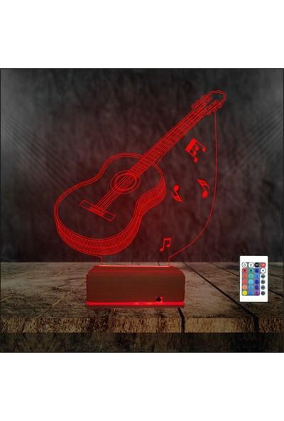Algelsin 3D 3 Boyutlu LED Gitar Tasarımlı 16 Renkli Masaüstü Lamba - Kumanda