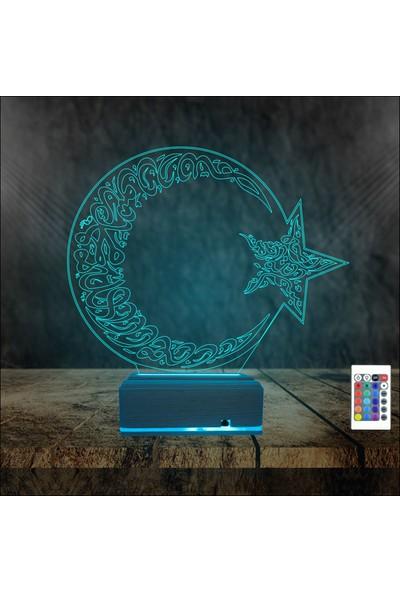 Algelsin 3D 3 Boyutlu LED Hilal Yıldız Tasarımlı Masa Lambası