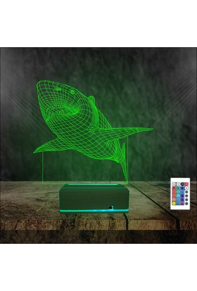 Algelsin 3D 3 Boyutlu LED Köpekbalığı Tasarımlı 16 Renkli Kumandalı Masa Lambası