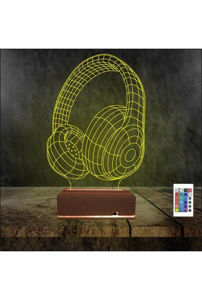 Algelsin 3D 3 Boyutlu LED Kulaklık Tasarımlı Masaüstü Lamba