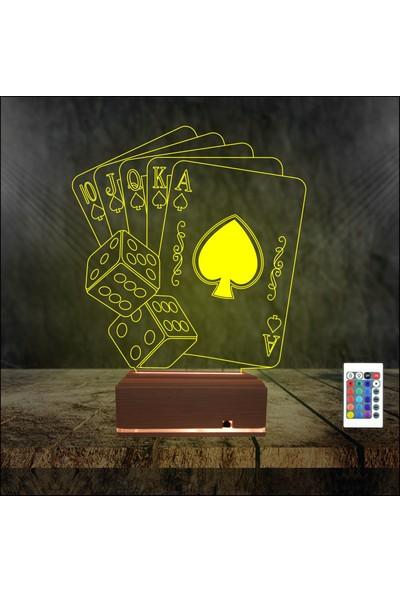 Algelsin 3D 3 Boyutlu LED Özel Oyun Kağıtlı Zar Tasarımlı Masa Lambası
