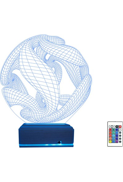Algelsin 3D 3 Boyutlu LED Sarmal Geometrik Tasarımlı Masa Lambası