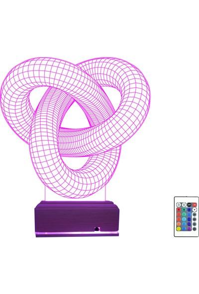 Algelsin 3D 3 Boyutlu LED Sarmal Tasarımlı Ev Ofis Masaüstü Lamba