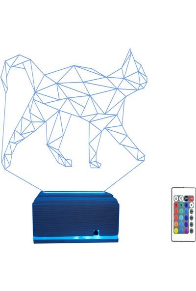 Algelsin 3D 3 Boyutlu LED Sevimli Kedi Tasarımlı Masa Lambası