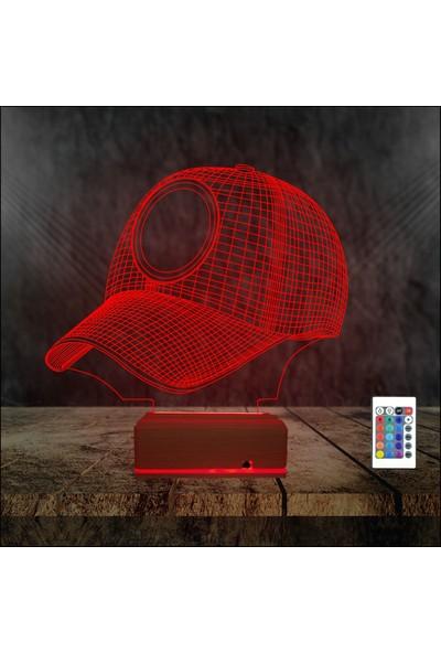 Algelsin 3D 3 Boyutlu LED Spor Şapkası Tasarımlı 16 Renkli Masaüstü Lamba