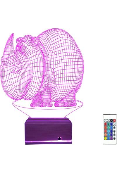 Algelsin 3D 3 Boyutlu LED Su Aygırı Tasarımlı Masa Lambası 16 Renkli