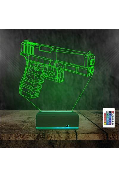 Algelsin 3D 3 Boyutlu LED Tabanca Tasarımlı Masa Lambası