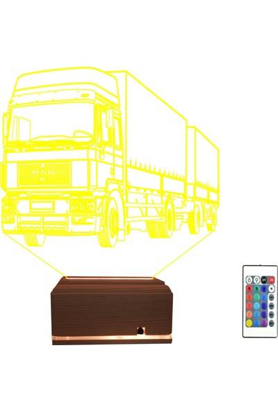 Algelsin 3D 3 Boyutlu LED Tır Tasarımlı Masa Lambası 16 Renkli