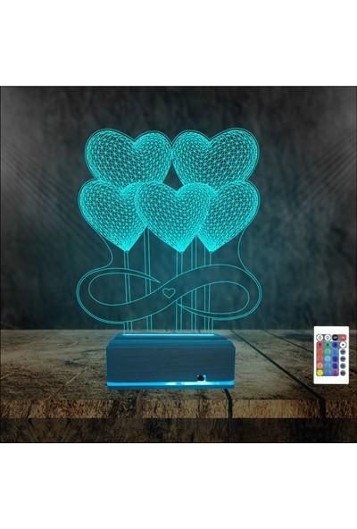 Algelsin 3D 3 Boyutlu LED Uçan Kalp Balon Tasarımlı 16 Renkli Masa Lambası