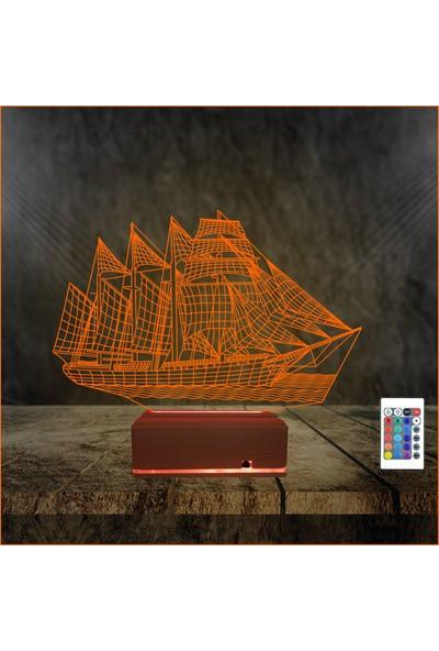 Algelsin 3D 3 Boyutlu LED Yelkenli Gemi Modelli Masa Lambası