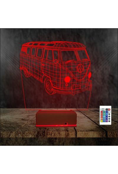 Algelsin 3D 3 Boyutlu Minibüs Tasarımlı Masa Lambası