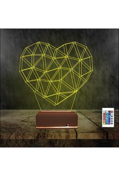 Algelsin 3D 3 Boyutlu Özel Geometrik Kalp Modelli Masa Lambası