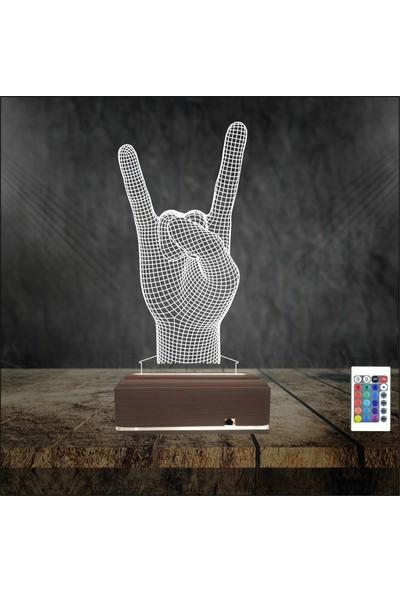 Algelsin 3D 3 Boyutlu Rockçılara Özel 16 Renkli Masaüstü Lamba - Kumanda