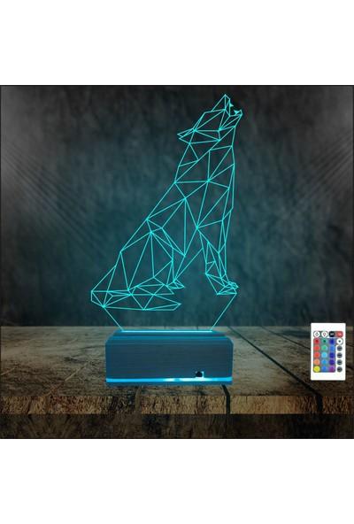 Algelsin 3D 3 Boyutlu Uluyan Kurt Tasarımlı 16 Renkli Masa Lambası