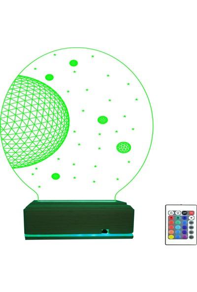 Algelsin 3D 3 Boyutlu Uzay Modelli LED Masa Lambası 16 Renkli