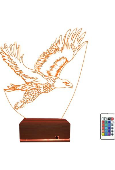 Algelsin 3D 3 Boyutlu Yırtıcı Kuş Tasarımlı LED 16 Renkli Masa Lambası