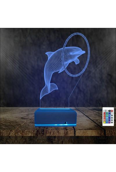 Algelsin 3D 3 Boyutlu Yunus Balığı Tasarımlı LED Masa Lambası