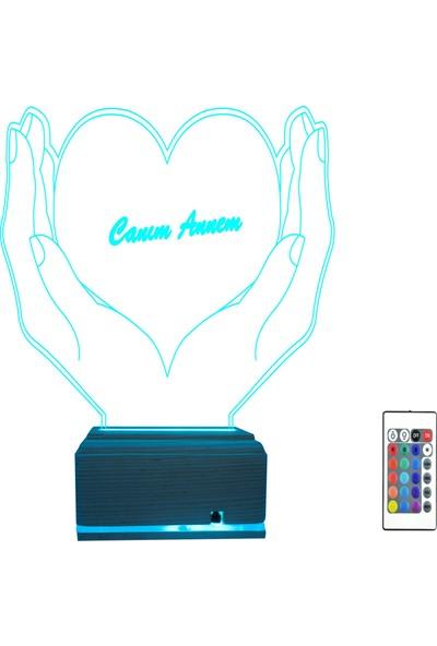 Algelsin 3D Avuç Içinde Kalp Tasarımlı Canım Annem Masa Lambası
