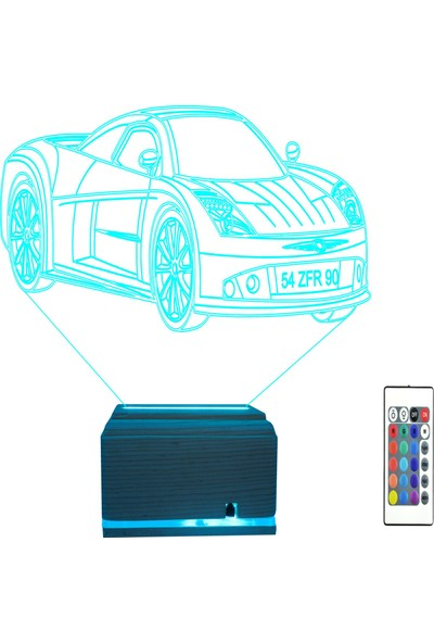 Algelsin 3D LED Araba Tasarımlı 16 Renkli Masaüstü Lamba