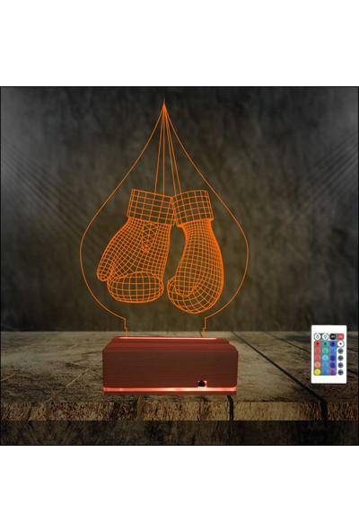 Algelsin 3D LED Boks Eldiveni Tasarımlı 16 Renkli Masa Lambası