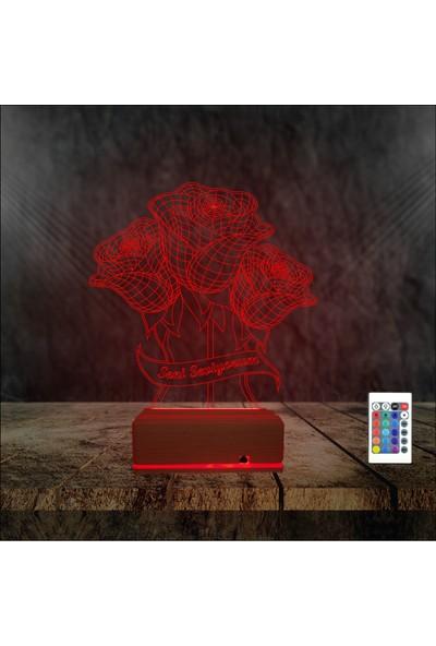 Algelsin 3D LED Eşe Sevgiliye Seni Seviyorum Temalı 16 Renkli Masa Lambası