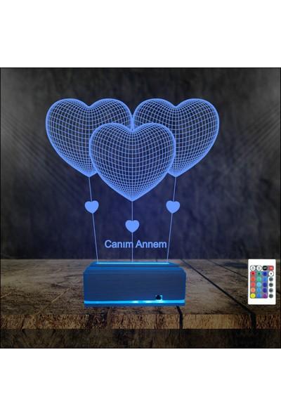 Algelsin 3D LED Kalpli Balonlu Canım Annem Yazılı Masa Lambası